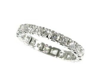 Summer Sale 18K white gold estate eternity band 2.20 carat diamonds c.1960
