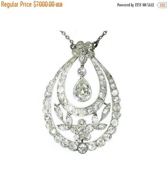 20% Off Valentine Sale Platinum Edwardian Diamonds Pendant Necklace Pear Shape Diamond ref.08267-3223