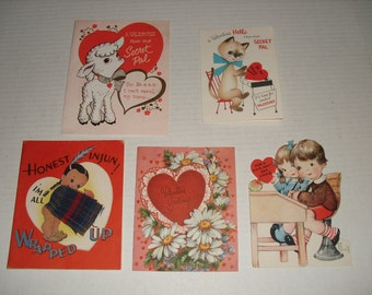 24)  Five Vintage Valentine Cards.  Two Used and Three Unused.