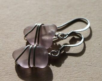 Genuine Sea Glass Earrings - Vintage Amethyst Purple Seaglass Earrings Wire Wrapped