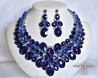 Blue Bridal Jewelry Set, Crystal Necklace Set, Bridal Statement Necklace, Wedding Jewelry Set, Vintage Inspired Necklace, Chunky Necklace