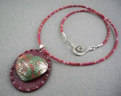 Heart necklace polymer clay with silver leaf crackle