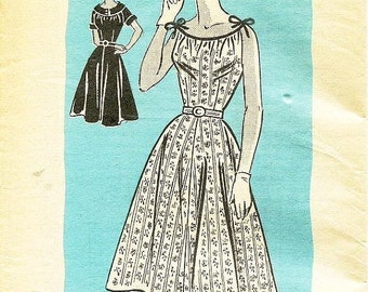 ON SALE Vintage 1950's Dress Pattern - Mail Order Pattern 4599 - Misses' Flared Day Dress in Two Variations - SZ 14/Bust 32