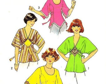 """ON SALE Misses' Boho Tunic Top In Three Variations - Sz 14/Bust 36"""" - Vintage 70s Top Pattern - Simplicity 7983"""