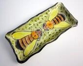 Ceramic Spoon Rest - Honey Bee - Small Tray - Sushi Dish - Pottery Buttter Dish - Clay Majolica Yellow Green Orange - Trinket Tray