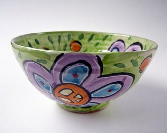 Small Ceramic Bowl - Cereal Bowl - Pottery Bowl - Small Serving Bowl - Peace Sign - Purple Blue Flowers - Majolica Bowl - Clay Kitchen Prep