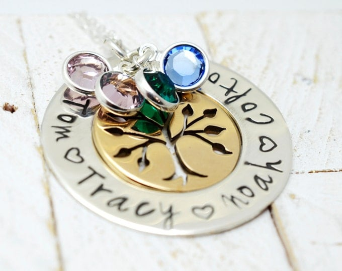 Personalized Two Tone Family Tree Necklace - Mother's Day Jewelry - Mommy Grandma Nana Necklace - Handmade Stamped Metal Jewelry For Her