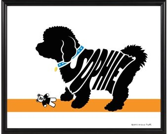 Personalized Bichon Frise Silhouette Print, Framed Bichon Wall Art, Custom Bichon Frise Decor