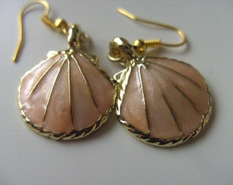 Gorgeous, SHELL, earrings, golden trim,pink and golden, electro plated, peach and golden,pearly, by NewellsJewels on etsy