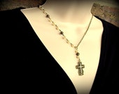 Neclace - Ornate Cross and Asymmetric Pearls