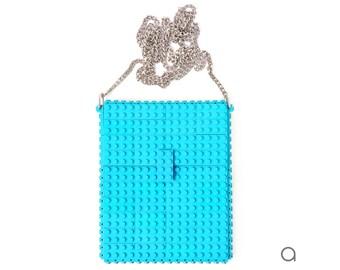 Azure hip clutch on a chain made entirely with LEGO® bricks FREE SHIPPING crossbody purse handbag