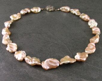 Petal pearl necklace, hand knotted on silk w/ a sterling silver box clasp-OOAK