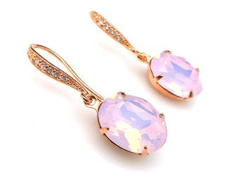 bridesmaid gift prom Swarovski rose water opal pink oval foiled crystal rhinestone drop with cubic zirconia pink rose gold hook earrings