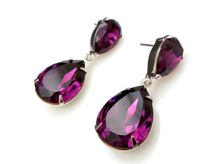 bridal jewelry bridesmaid gift wedding prom pageant party swarovski teardrop amethyst purple crystal fancy drop and teardrop post earrings