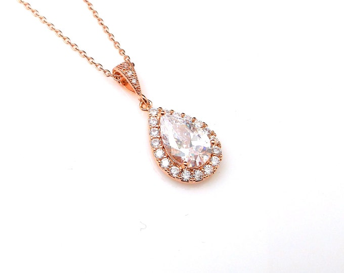 SALE set of  3 4 5 6 7 8 necklace bridal bridesmaid gift set teardrop clear white cubic zirconia setting rose gold pendant chain necklace
