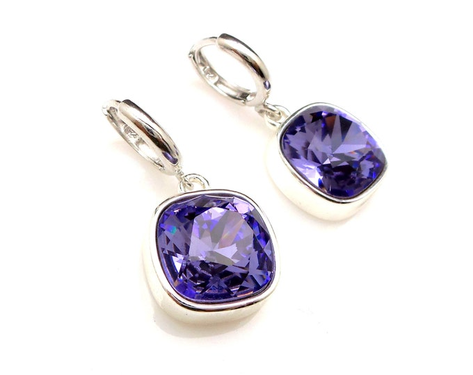 bridal bridesmaid gift earrings square vintage tanzanite swarovski blue purple crystal rhinestone sterling silver click hoop earrings