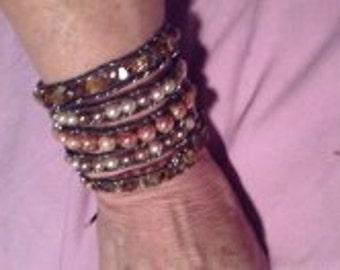 Chan Luu style 5 row wrap bracelet- beads on wire, not thread