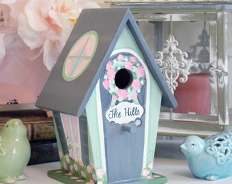 Personalized Birdhouse, Hand Painted, Custom, Decorative