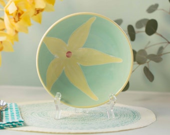 large light seafoam flower bowl