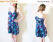 50% OFF SALE vintage romper 80s blue floral print sweetheart neckline criss cross back 1980s womens clothing size medium m