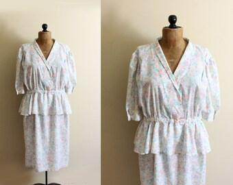 SALE vintage dress peplum pastel floral print 1980s plus size clothing 1x 2x size extra large xl
