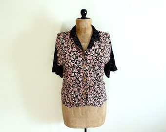 vintage blouse 90s grunge clothing 1990s mixed print floral polka dot black pink womens size l xl extra large