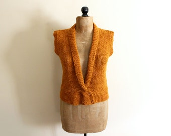 SALE vintage sweater vest pumpkin butterscotch orange vintage 1980s clothing rust size s m small medium