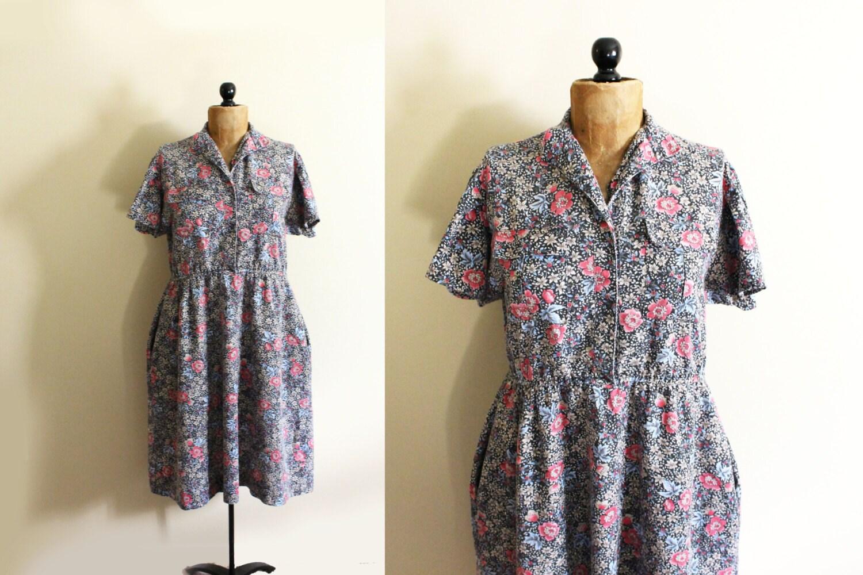 vintage dress 1980s womens clothing grey floral print shirt