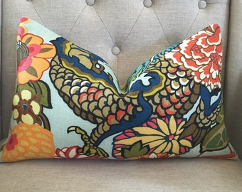 """Schumacher Chiang Mai Dragon in Aquamarine - 12""""X20"""" - Pattern on the front"""
