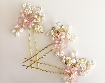 Rose Hair Pins, Bridal hair pins, Pearl hair pins, Pink Flowers, Spring Wedding , Summer wedding, Bridesmaid gifts,Prom
