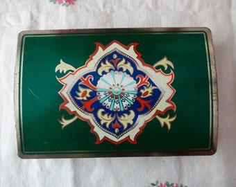 vintage Revlon decorative TIN - gold, green, Made in England