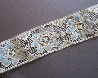 antique insertion lace BTY - 1.5 inches wide - natural with light blue - rare lace