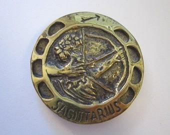 vintage brass paperweight - SAGITTARIUS