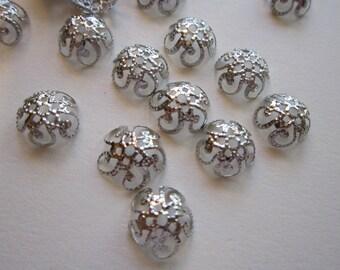 100 filigree metal bead caps - silver tone - 10mm