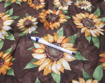 destash 1 yard sunflowers quilting fabric