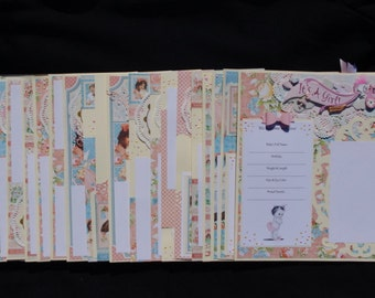 GRAPHIC 45 20~Premade Baby Girl Layouts, just add photos and album ***FREE SHIPPING***