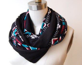 SALE! Circle Scarf Southwest Print with Black
