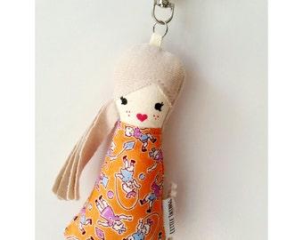 Tiny doll bag charm, keychain, keyring, Accessory, small cloth doll, worry doll