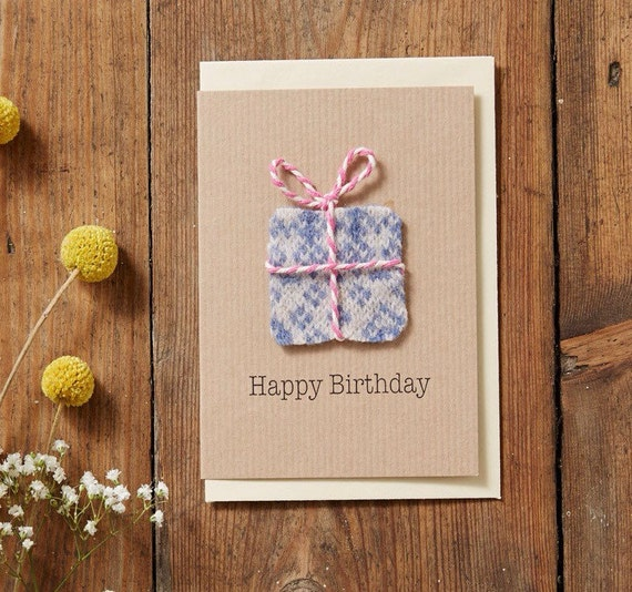 Items Similar To Knitted Birthday Card, Happy Birthday