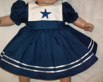 """15"""" 16"""" American Made Girl Baby Doll Clothes Navy Blue Sailor Dress with panties and cap fits 14"""" 15"""" 16"""" Dolls"""