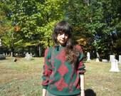 60s green and red ski sweater - Scandinavian sweater