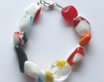 Multi-Coloured Glass Bracelet