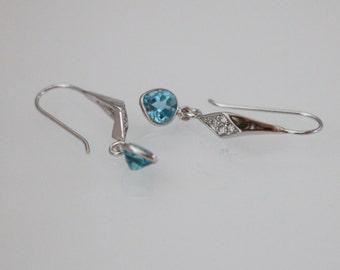 Sky Blue Topaz Silver Bezel Concave Cut Heart Shape White Gold Vermeil Earrings, Blue Topaz Earrings, Blue Earrings, CZ Diamond Ear Hook