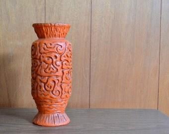 vintage modern orange haeger vase