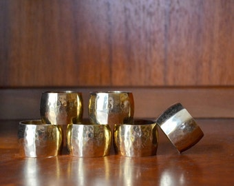 vintage hammered brass napkin rings