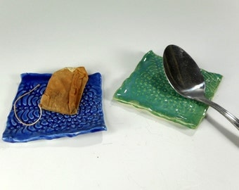 Pottery tea bag holder coaster set of 2, ceramic spoon rest, stoneware square spoon rest, tea bag coaster, lace pottery, blue and turquoise