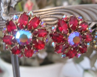 Vintage WEISS Ruby Red and AB Rhinestone Clip on Earrings Holidays Christmas