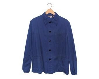 Vintage European Dark Blue Cotton Button Up Three Pocket Lightweight Chore Coat - Medium