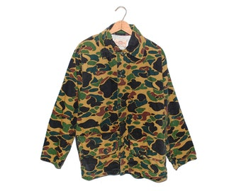 Vintage Saf-T-Bak Hunting Clothes Camo 100% Cotton Button Up Shirt Made in USA - Large