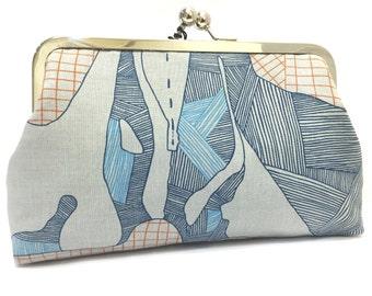 clutch purse - the dig  - 8 inch metal frame clutch purse - large purse - clutch bag - bones- paleontology - grey  - kisslock - handbag
